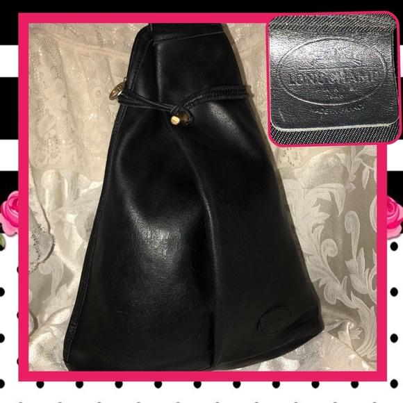 2679ed0a77b Longchamp Handbags - Vintage Longchamp Roseau Black Sling Backpack